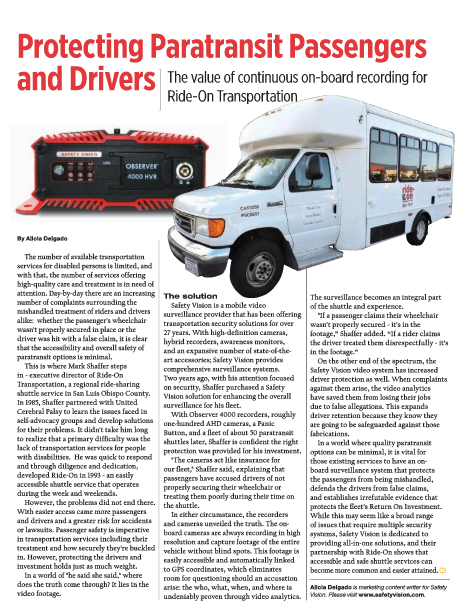 Protecting paratransit passengers and drivers: The value of continuous on-board recording for Ride-On Transportation