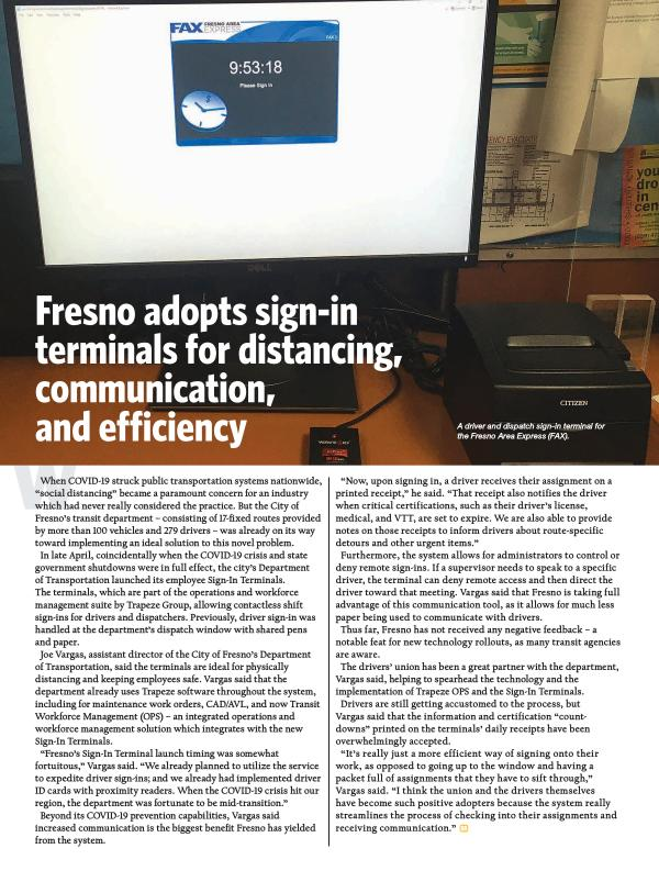 Fresno adopts sign-in terminals for distancing, communication, & efficiency